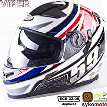 VIPER RS-V9 UK59 MOTOCICLETA INTEGRALE PINLOCK SHARP 4 STAR ESTRELLA DEPORTES CARRERAS BANDERA CASCO