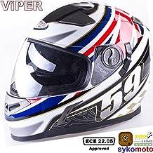 VIPER RS-V9 UK59 MOTOCICLETA INTEGRALE PINLOCK SHARP 4 STAR ESTRELLA DEPORTES CARRERAS BANDERA CASCO