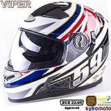 Viper RS-V9 UK59 MOTOCICLETA INTEGRALE PINLOCK SHARP 4 STAR ESTRELLA DEPORTES CARRERAS BANDERA CASCO (S (55-56 CM))