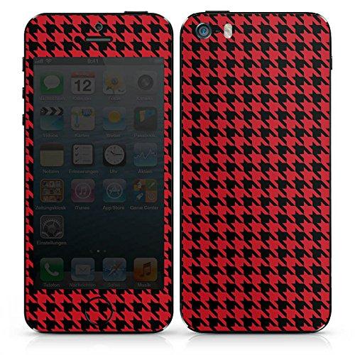 Apple iPhone SE Case Skin Sticker aus Vinyl-Folie Aufkleber Muster Hahnentritt Rot Schwarz DesignSkins® glänzend