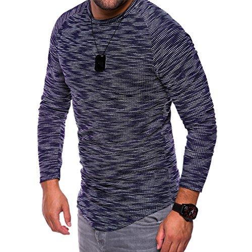 Yinew Herren T-Shirt Herren Pullover Shirt Rundhals Schlankes Langärmeliges Herbst und Winter Navy L
