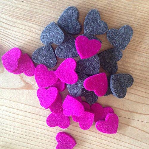 Filz Herz Streugut aus 100 % Merino Design Woll Filz – Inhalt 30 Stück – (pink)