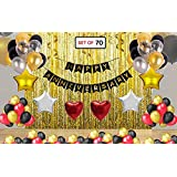 Theme My Party Happy Anniversary Decoration Combo Happy Anniversary Banner - Gold Foiled Fringe Curtain - Foil Balloons - Latex Balloons Wedding Anniversary Party Decoration Photo Props