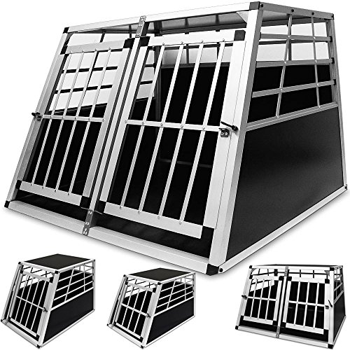 Hundetransportbox Doppel aus leichtem Alu mit verschließbarer Tür 90x69x50cm
