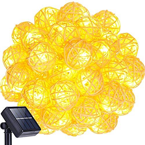 Solar Lichterkette Außen,KINGCOO Wasserdicht 30LEDs Rattan Solarbetrieben Lichterkette Weihnachten Dekoration für Party Haus Hochzeit Weihnachten Feier Festakt (Warm weiß)