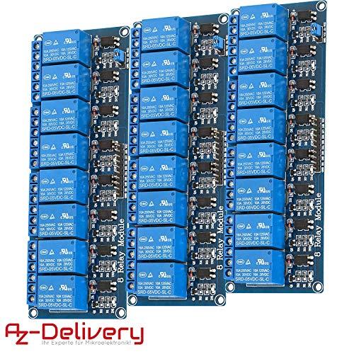 AZDelivery 3 x 8-Relais Modul 5V mit Optokoppler Low-Level-Trigger für Arduino inklusive eBook