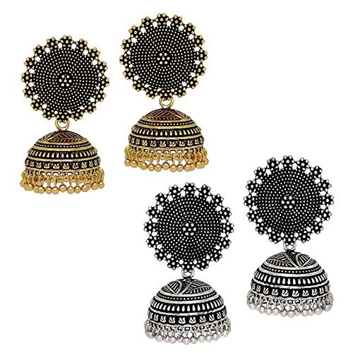 I Jewels Oxidized Combo of Gold & Silver Plated Jhumki / Jhumkas Earrings for Women (E2552CO)
