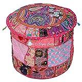 Stylo Culture Patchwork Coton Brodé Tabouret Ottoman Pouf Cover Pink Floral Ottoman Furniture