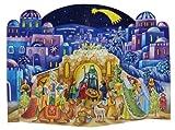 Große Zwei Teil Freistehender Adventskalender 24Türen 370x 265mm–Krippe blau Bethlehem Pop Up–mit Glitter und transluzenten Windows–RS 572–Traditionelle, antikes Deutsches Design