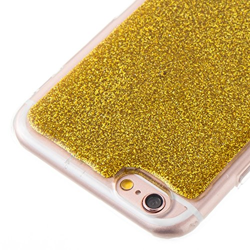 GR Soft Flexible Silikon TPU Gel Cover Case [Anti-Kratzer] Bling Glitter 360 ° Volldeckung Rückseitige Abdeckung [Shockproof] für iPhone 6 & 6s ( Color : Silver ) Gold