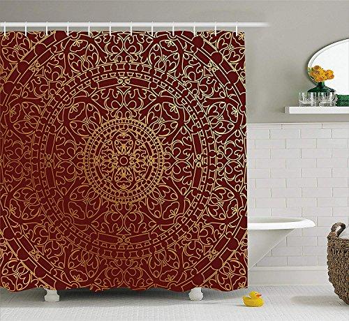 KCOUU tenda da doccia marrone antico arabo Artwork orientale mandala Inspired rotonda ornamento marocchino oro etnico, tessuto arredo bagno Set con ganci, 152,4x 182,9cm, marrone