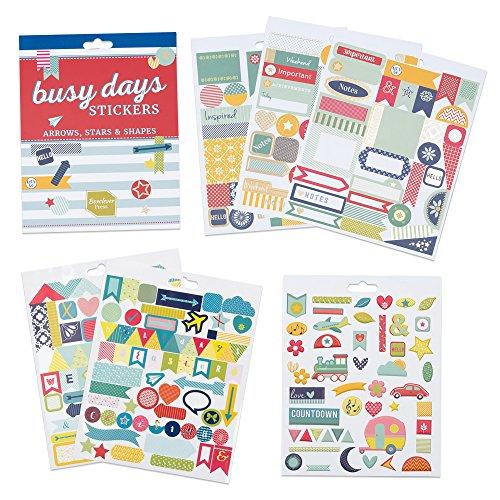 Boxclever Press Busy Days Planersticker, Scrapbook Sticker. Goldfolie-, Vinyl- und gepolsterte Aufkleber für Planer & Bullet Journals (Sterne & Pfeile)