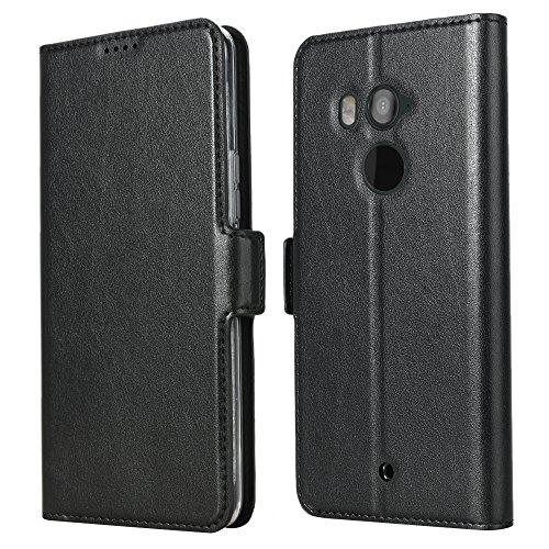 Eastcoo HTC U11 Plus PU Leder Tasche Flip Ledertasche Handyhülle kristallklarer TPU View Standfunktion Kartenfach Holder Magnetverschluß Doppelt geschichtet wallet Case Hülle für HTC U11 Plus (U11 Plus, Black) (Htc 1 Telefon-abdeckung)