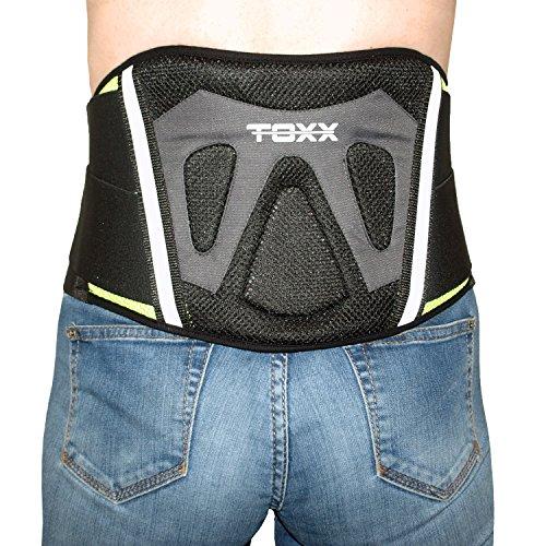 TOXX Motorrad Nierengurt Premium Motorradgurt Roller Scooter Quad ATV Nierenschutz Rückenbandage M L XL Schwarz Neon Gelb (L)