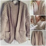 Chunky Crochet Cardigan, Bulky oversized Cardi, Jacket, Coat, Women's, handcrafted, textured Jumper, warm comfy gift for her, UK
