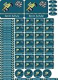 INDIGOS UG Namensaufkleber/Sticker - A4-Bogen - 080 - Auto Jeep - 69 Sticker für Kinder, Schule und Kindergarten - Stifte, Federmappe, Lineale - auch für Erwachsene - individueller Aufdruck