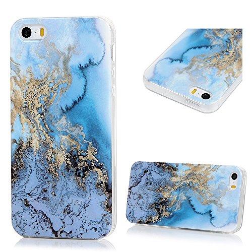 Lanveni Custodia Cover Morbido TPU Silicone Ultra Sottile per iPhone 5/5S/SE Paraurti Protective Case Caso - Disegno Marmo, Grigio Bianco Blu