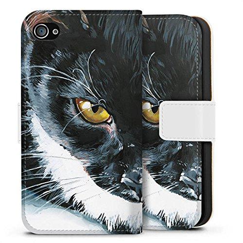 Apple iPhone X Silikon Hülle Case Schutzhülle Katze Schwarz Weiß Haustier Sideflip Tasche weiß
