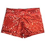 Babyicon Damen Sexy Sequins Shorts Hot Hosen Tanz Hip Hop Jazz Sänger Nachtclub (S, Rot)