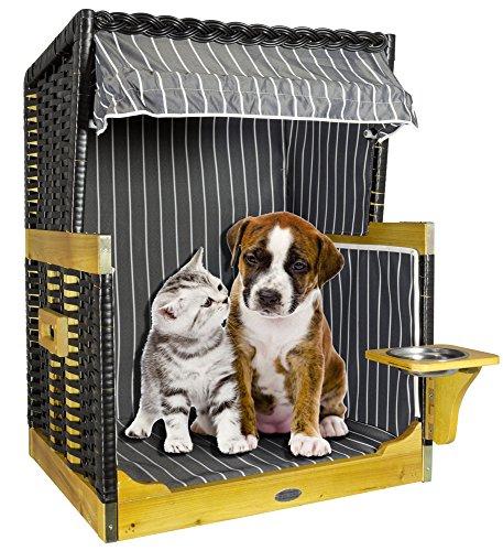 Hundestrandkorb Hundebett Sitzhöhe 50cm für kleine Hunde Farbe anthrazit-weiß