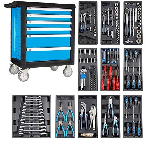 Werkstattwagen Werkzeugwagen Werkzeugkasten Werkzeugschrank gefüllt mit Werkzeug