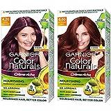 Garnier Color Naturals Creme Hair Color, Shade 4.20 Wine Burgundy, and Color Naturals Creme Hair Color, Shade 6.60 Intense Re