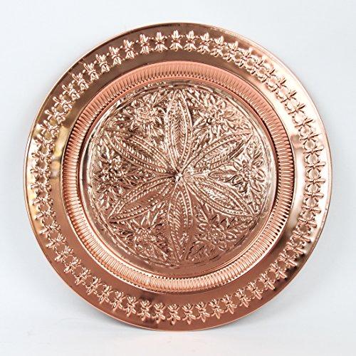 Preisvergleich Produktbild Orientalischer Marokkanischer Kupfer Beistelltisch Teetisch Klapptisch Couchtisch mit Tablett Orient Metall Tisch ø 50 cm H 40 cm