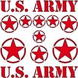 Set Sterne plus Schriftzug US Army MP Jeep Tuning Aufkleber Tattoo die cut car decal Auto Deko Folie Autoaufkleber Autofolie (rot)