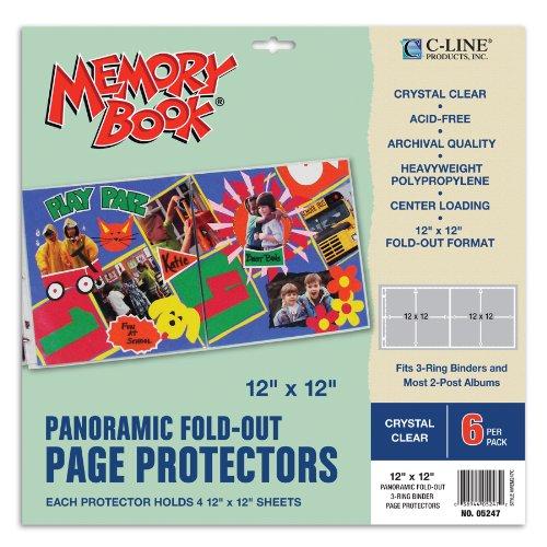 Line 12x 12Zoll Memory Book Panorama ausklappbaren Pocket Seite Protektoren, 6Stück, transparent Line Protector