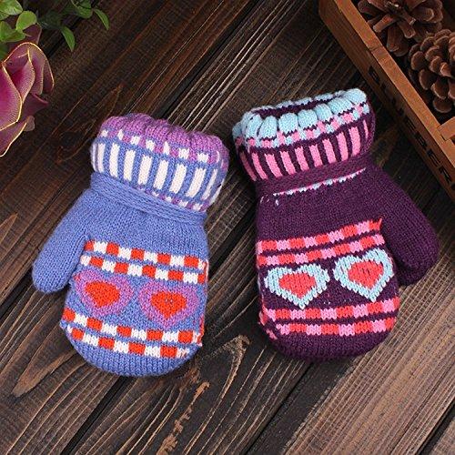 QH Kinder Tasche Bezieht Sich auf die Cartoon Gestrickte Handschuhe Winterkälte Essential Student Handschuhe,D-