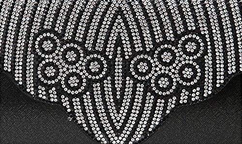 Sacchetto di mano, sacchetto diamante diamante, sacchetto di sera, pacchetto delle signore, pacchetto di modo ( Colore : Viola ) Nero