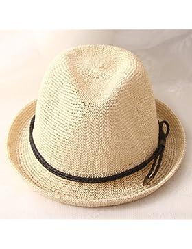 LVLIDAN Sombrero para el sol del verano Lady Anti-Sol Playa sombrero de paja estilo británico beige