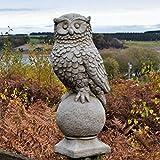 Diseño de búho sobre bola piedra adorno de jardín Estatua Escultura fundido a medida Pilar Decor