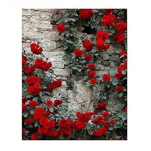 yeshi Rose Blume Ölgemälde von Zahlen DIY handgemaltes Wandbild modern Decor, 3#, 40cm x 50cm