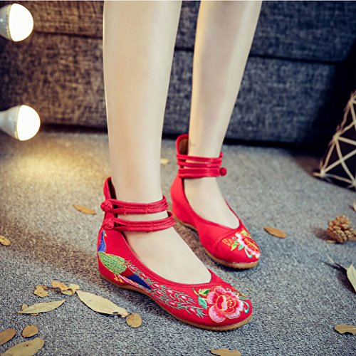 Zhhlaixing Chic Embroidered Shoes Womens Chinese Style Casual Breathable Shoes red