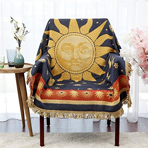 Deko 100% gewebte Baumwolle Überwurf Decke mit Fransen Strick Handtuch Steppdecke für Couch in gelb, Blue Moon Sonne 129,5x 167,6cm Planet Küche-teppich, Gelb, Blau