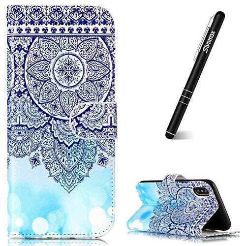 Slynmax - Funda con tapa para iPhone XR (ultrafina), diseño de libros, color negro, Totem Flower