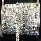 Demiawaking, addobbo alla moda,catena di strass trasparenti SS16, a 2 file, argento, 0,9m, per decorazione di nozze e fai da te,