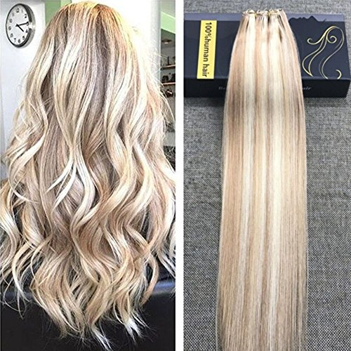 Ugeat Unverarbeitet 100 Menschliches Haar EZE Extensions Weft Glatt 60cm Weave Extensions Ombre Brasilianische Echthaar Tressen Piano Color Strawberry Blondine und Bleichmittel Blondine #27/613