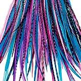 20de long Extension de cheveux plumes Naturel avec Anneaux & application Loop (Baie)
