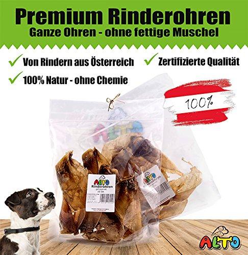 Alto-Petfood 400g - Premium Ganze getrocknete Rinderohren für Hunde – ohne fettige Muschel | Gesunder Kauartikel Hunde | Hundeleckerli, Kausnack, wie Schweineohren, Rinderkopfhaut