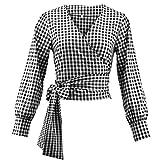 Luxspire Damen Karierte Bluse, Causal Langarm V-Ausschnitt Strap Bauchfrei Knot Kurz Shirts, Schwarz, Medium