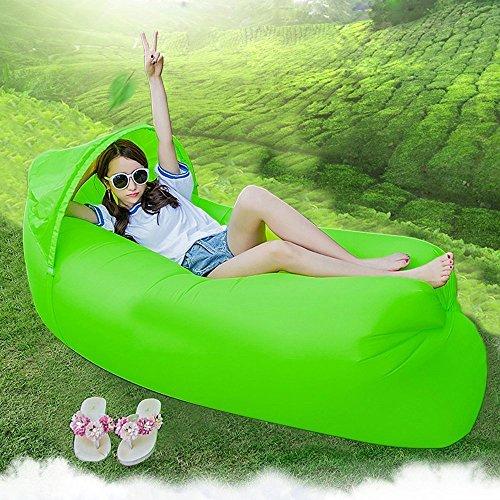 Original Design 0,9kg tragbar Schnell aufblasbares Sofa/Bett/Boot für Outdoor Wandern Camping Lounge Strand und Garten Freizeit Schlafsäcke Camping Bett mit Sonnenschirm - grün