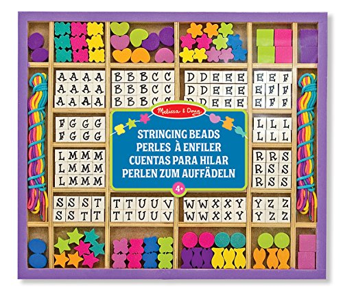 Melissa & Doug 13774 Deluxe Wooden Stringing Beads with 200+ Beads and 8 Laces for Jewellery Making