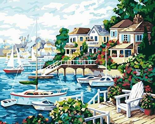 [ New Release ] Diy Oil Painting by Numbers, Paint by Number Kits - Harbor Seaside Lakeside Landscape 16*20 inches - Digital Oil Painting Canvas Wall Art Artwork Landscape Paintings for Home Living Room Office Christmas Decor Decorations Gifts - Diy Paint by Numbers Diy Canvas Kit for Adults Children Seniors Junior - New Arrival - No. D300 - Without Frame by YEESAM ART DIY D300 Kit