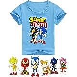 SUPFANS Kids Sonic The Hedgehog Camiseta de manga corta de algodón