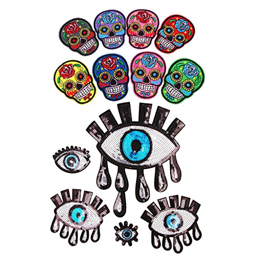 sharplace gemischt Mexiko Sugar Skull Motiv bestickt Eisen/Sew On Patches + Gothic Punk Eye Aufnäher Pailletten für Fancy Kleid Decor -