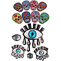 Sharplace Mixed Mexico SUGAR SKULL Motif Embroidered Iron/Sew On Patches + Gothic PUNK Eye Applique Sequin for Fancy Dress Decor