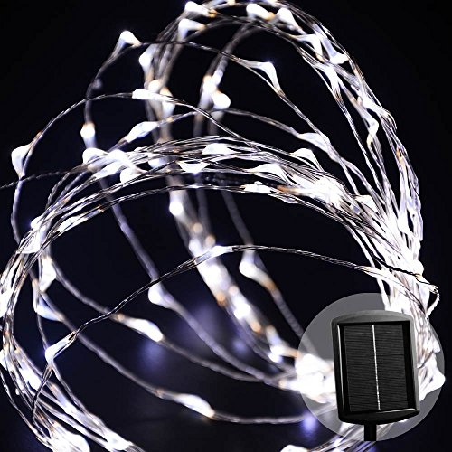 Mabor Solare luci del mazzo natale, 100 LED 33ft impermeabili filo di rame luci della (Corda Solare)