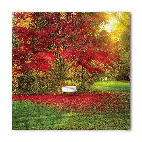 Tree Bandana, Bench in the Park Maple Leaves, Unisex Head and Neck Tie,Unisex Bandana Head and Neck Tie Neckerchief Headdress Silk-Like 100% Polyester(size:M) -